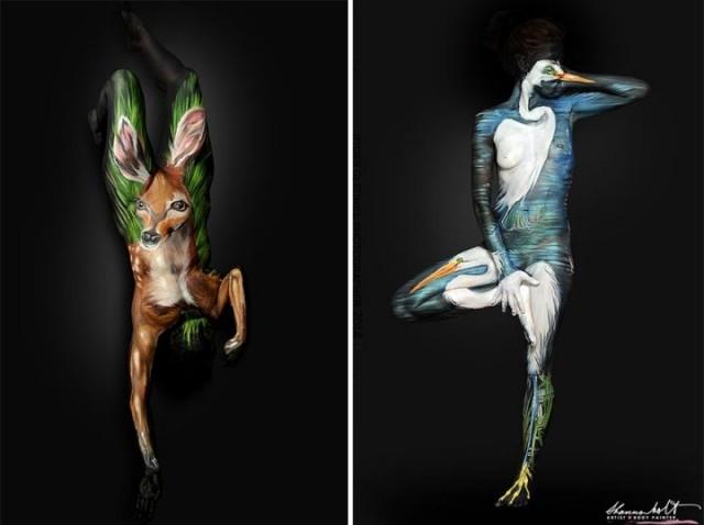 მხატვარმა ბოდი არტის მეშვეობით ადამიანები ცხოველებად გადააქცია (+ფოტო)