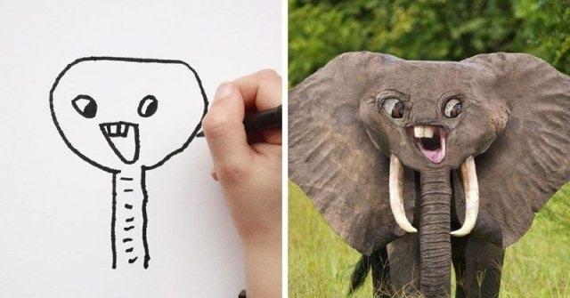 რა გამოვა, თუ ბავშვის მიერ დახატული ცხოველები ცოცხალ არსებებად გადაიქცევიან? (სახალისო ფოტოგალერეა)