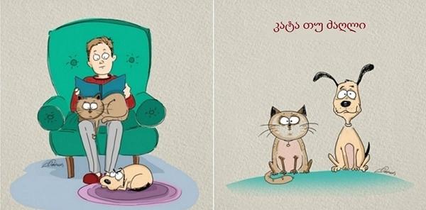 საყვარელი ილუსტრაციებით წარმოდგენილი ძაღლისა და კატის 5 მთავარი განსხვავება