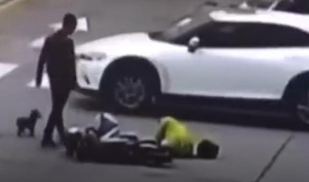 ძაღლმა სდია და მოახერხა, გაეჩერებინა ის მანქანა, რომელმაც მისი პატრონი გაიტანა (+ვიდეო)