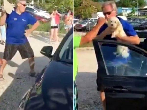 მამაკაცმა მანქანის მინა გატეხა და სიცხეში ჩაკეტილი ძაღლი სიკვდილისგან იხსნა (+ვიდეო)